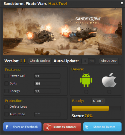 читы для Sandstorm: Pirate Wars